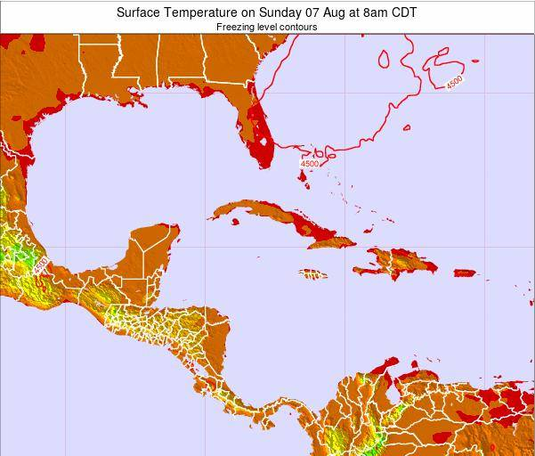Cayman Islands Surface Temperature on Friday 07 Mar at 7pm CST