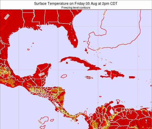 Cayman Islands Surface Temperature on Wednesday 19 Jun at 8pm CDT