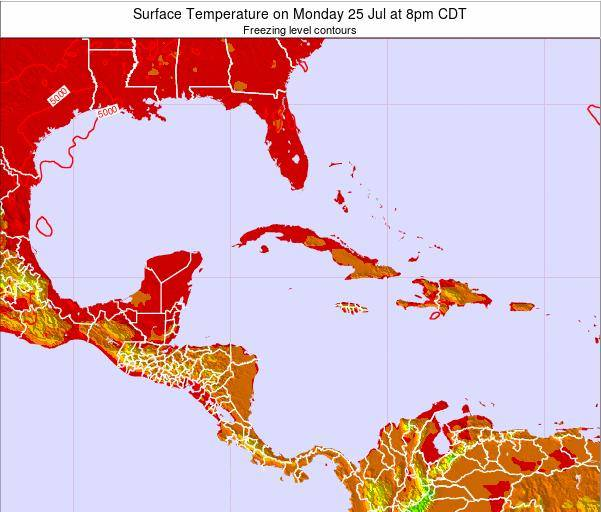 Jamaica Surface Temperature on Saturday 25 May at 8am CDT