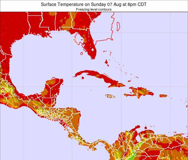 Cayman Islands Surface Temperature on Monday 27 Oct at 2pm CDT