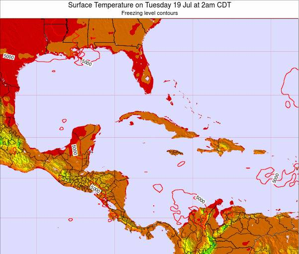 Cayman Islands Surface Temperature on Saturday 23 Aug at 2pm CDT