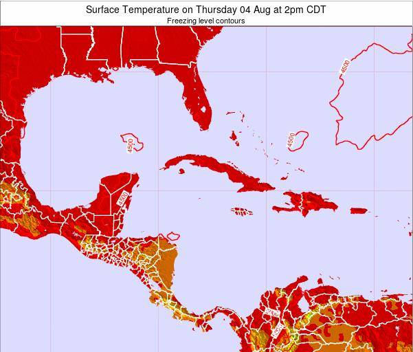 Turks and Caicos Islands Surface Temperature on Tuesday 28 May at 2am CDT map