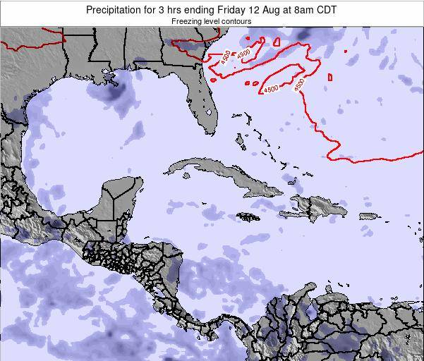 The Bahamas Precipitation for 3 hrs ending Monday 24 Jun at 8am CDT map