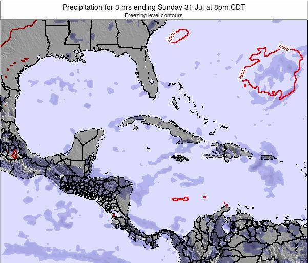 Cayman Islands Precipitation for 3 hrs ending Saturday 25 May at 8pm CDT