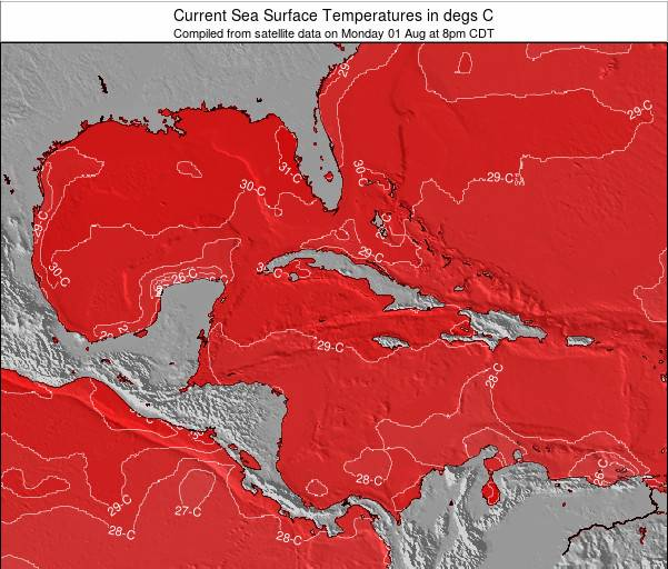 Cayman Islands Sea Temperature Map