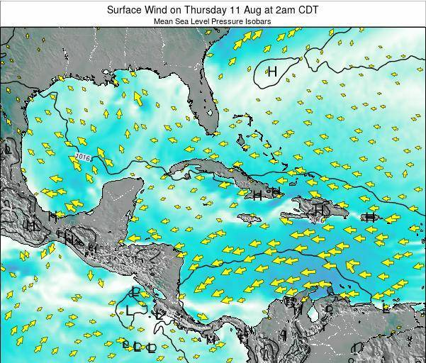 The Bahamas Surface Wind on Saturday 25 May at 2pm CDT map