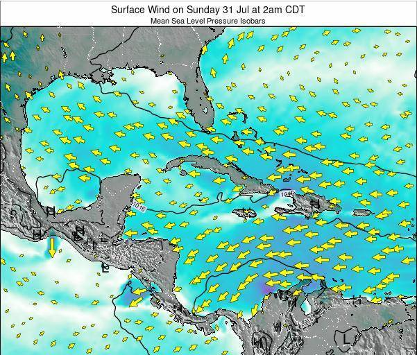 The Bahamas Surface Wind on Thursday 23 May at 8am CDT map