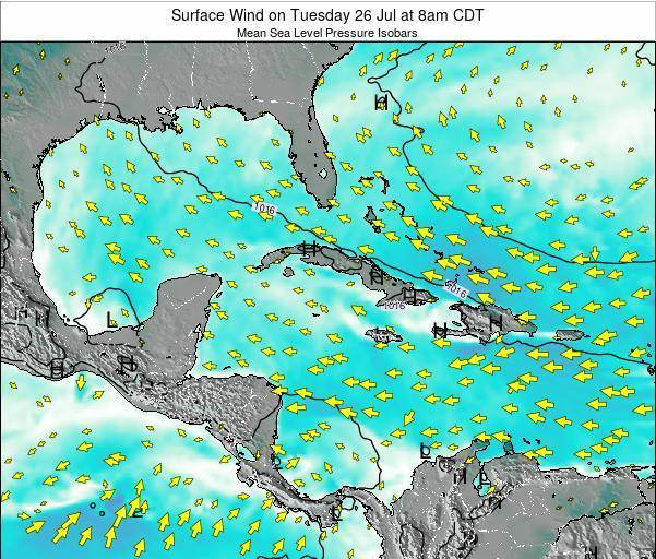 The Bahamas Surface Wind on Sunday 16 Mar at 8am CDT