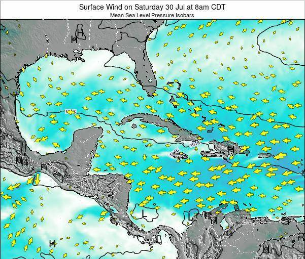 The Bahamas Surface Wind on Saturday 27 Dec at 1pm CST