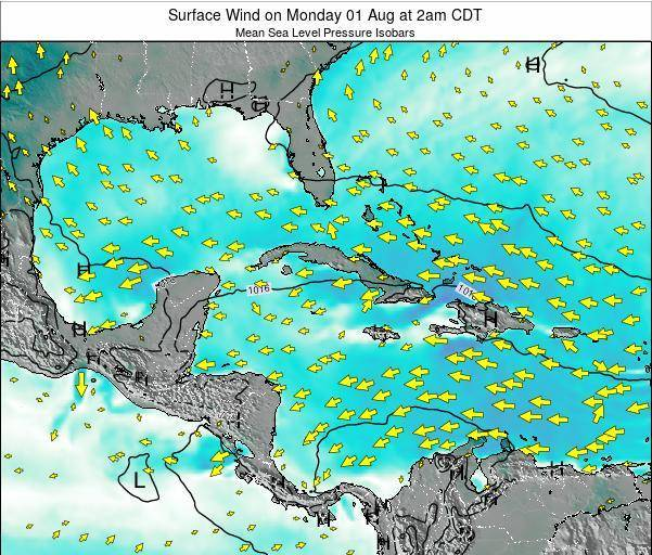 Cuba Surface Wind on Tuesday 28 May at 2pm CDT map
