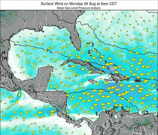 Cuba Surface Wind on Thursday 23 May at 8am CDT map