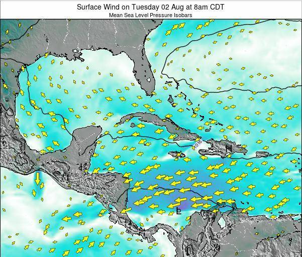 Cuba Surface Wind on Thursday 23 May at 2pm CDT map