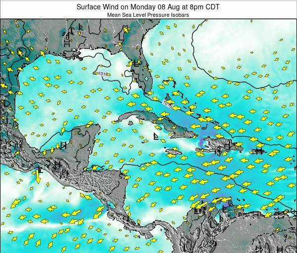 The Bahamas Surface Wind on Wednesday 22 May at 2pm CDT map