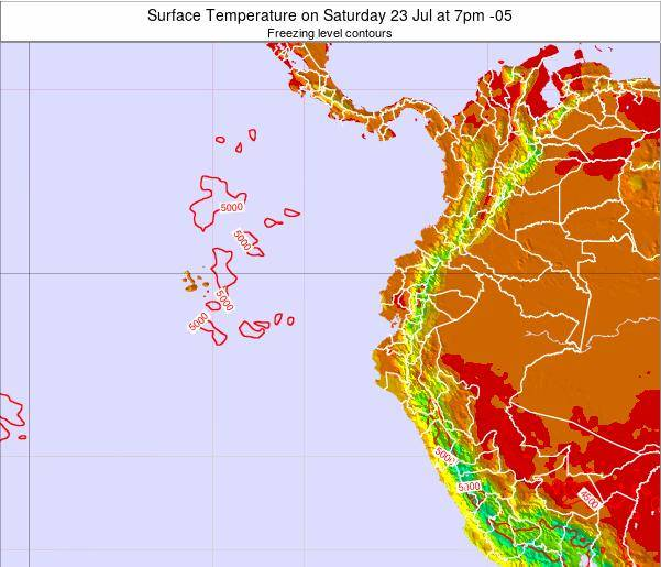 Ecuador Surface Temperature on Monday 01 Sep at 7pm ECT