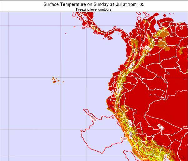 Ecuador Surface Temperature on Saturday 23 Aug at 7am ECT