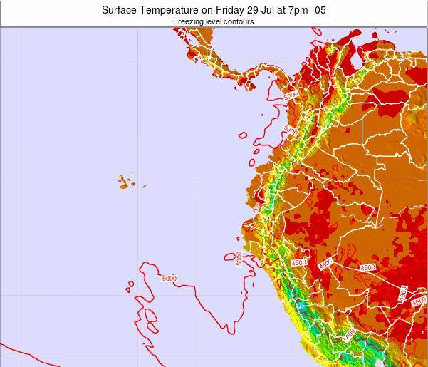 Ecuador Surface Temperature on Sunday 19 May at 7pm ECT
