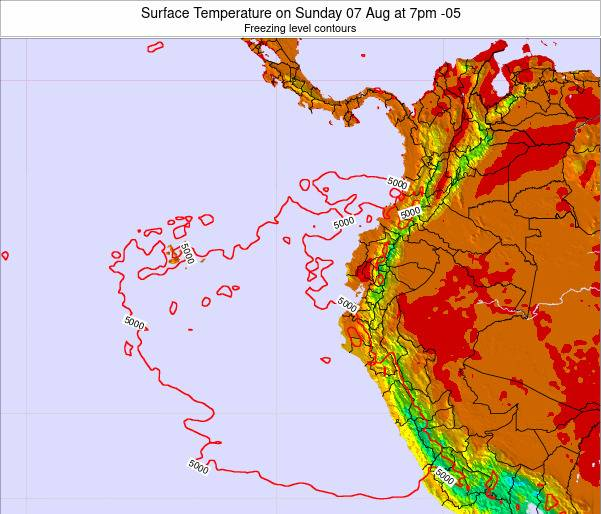 Ecuador Surface Temperature on Thursday 14 Dec at 7am ECT map