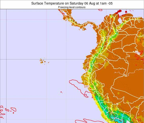 Ecuador Surface Temperature on Friday 18 Apr at 7pm ECT