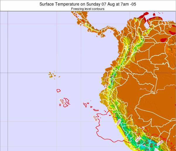 Ecuador Surface Temperature on Monday 28 Jul at 7pm ECT