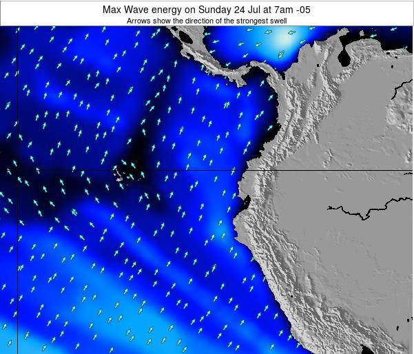 Ecuador Max Wave energy on Wednesday 22 May at 7am ECT
