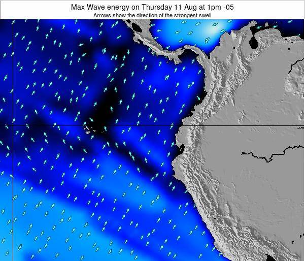 Ecuador Max Wave energy on Monday 28 Jul at 7pm ECT