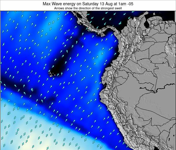 Ecuador Max Wave energy on Tuesday 11 Mar at 7pm ECT