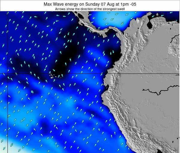 Ecuador Max Wave energy on Monday 15 Feb at 7am ECT
