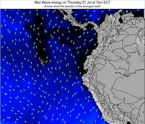 Ecuador Max Wave energy on Tuesday 25 Jun at 1am ECT