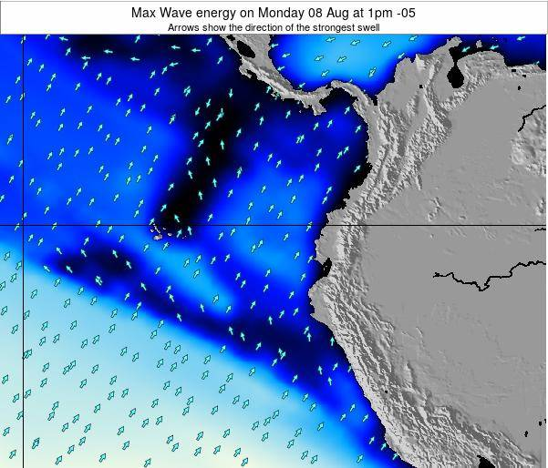 Ecuador Max Wave energy on Saturday 15 Mar at 7am ECT