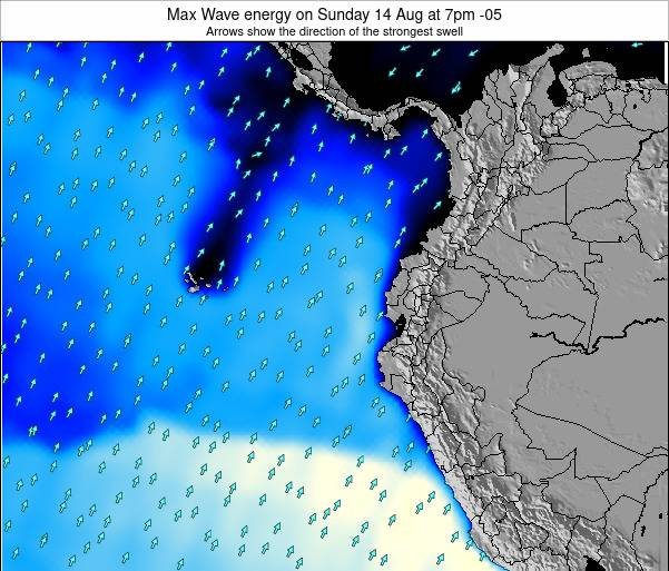 Ecuador Max Wave energy on Monday 27 May at 1pm ECT