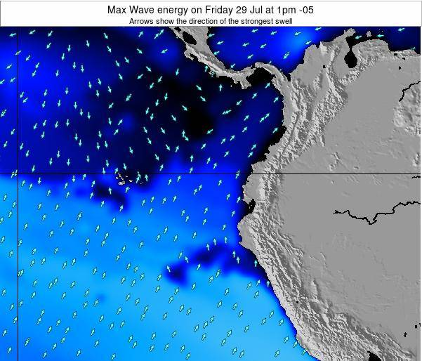 Ecuador Max Wave energy on Wednesday 12 Mar at 7am ECT