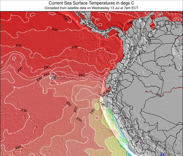 Equador Temperaturas da Superfície do Oceano Mapa