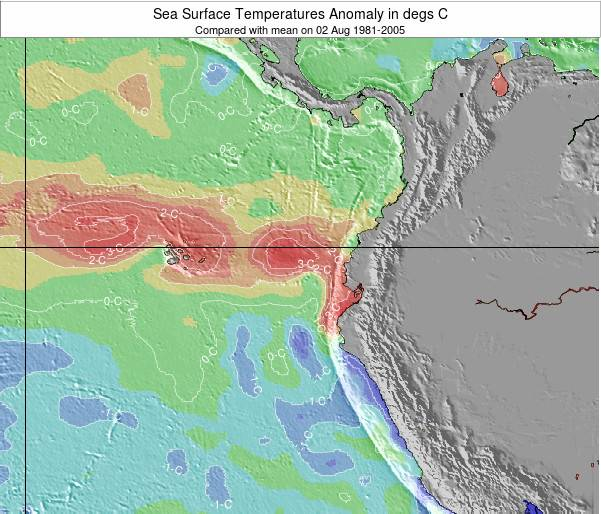 Ecuador Sea Temperature Anomaly Map