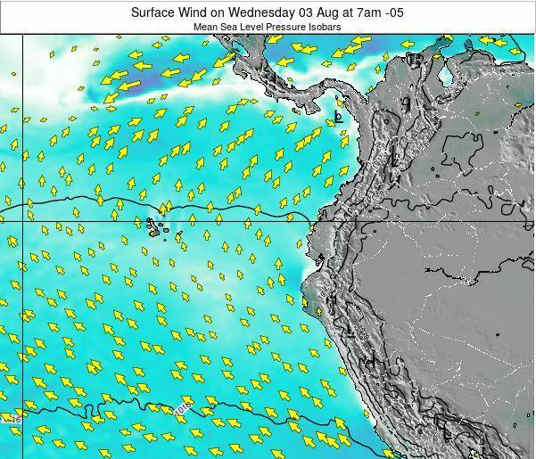 Ecuador Surface Wind on Wednesday 29 May at 1am ECT map