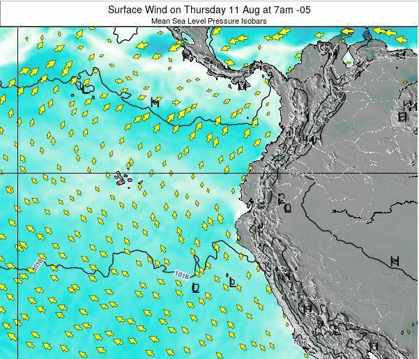 Ecuador Surface Wind on Tuesday 28 May at 7am ECT map