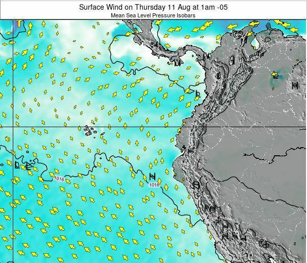 Ecuador Surface Wind on Tuesday 28 May at 1pm ECT map