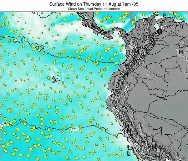 Ecuador Surface Wind on Friday 21 Jun at 7pm ECT map