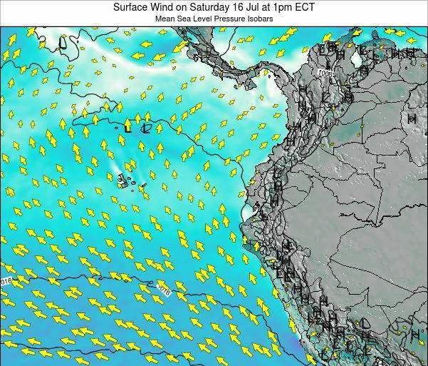 Ecuador Surface Wind on Monday 20 May at 1am ECT