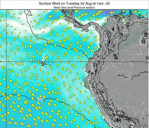 Ecuador Surface Wind on Saturday 24 Mar at 1am ECT map