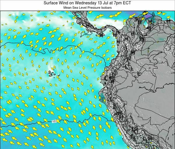 Ecuador Surface Wind on Tuesday 25 Sep at 1pm ECT map