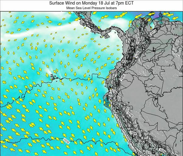 Ecuador Surface Wind on Friday 24 May at 7pm ECT map