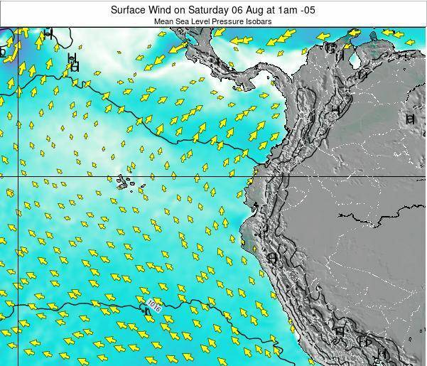 Ecuador Surface Wind on Wednesday 22 May at 7pm ECT map