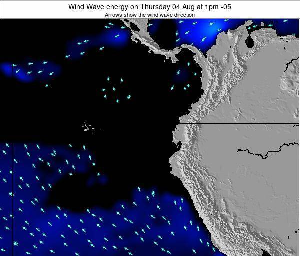 Ecuador Wind Wave energy on Saturday 24 Mar at 1am ECT map