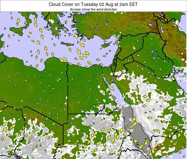 Egypt Cloud Cover on Tuesday 23 Oct at 8pm EET map
