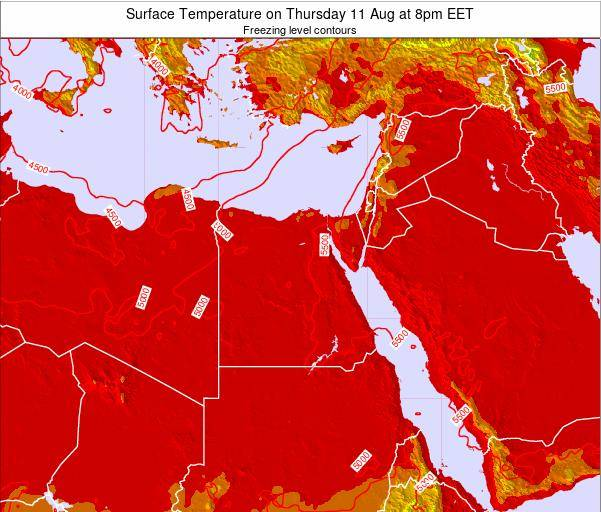 Egypt Surface Temperature on Monday 24 Jun at 2am EET map