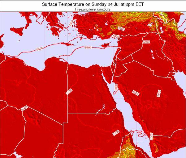 Egypt Surface Temperature on Sunday 20 Apr at 8pm EET map