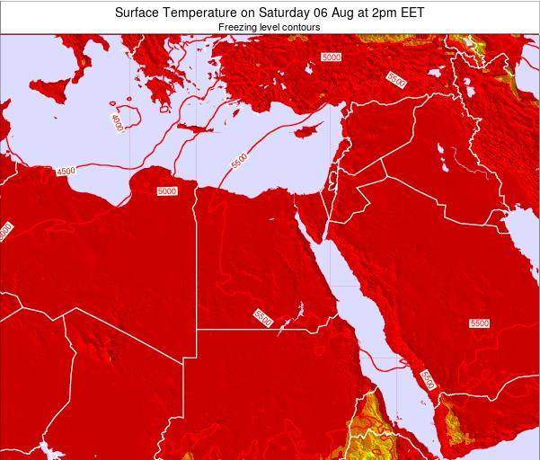 Egypt Surface Temperature on Monday 09 Dec at 2pm EET map