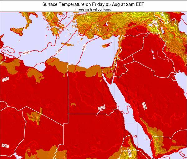 Egypt Surface Temperature on Wednesday 23 Apr at 8pm EET map