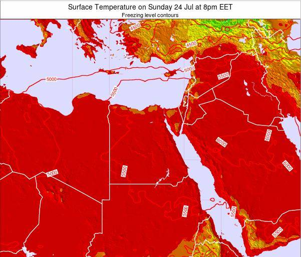 Egypt Surface Temperature on Saturday 08 Mar at 8am EET map