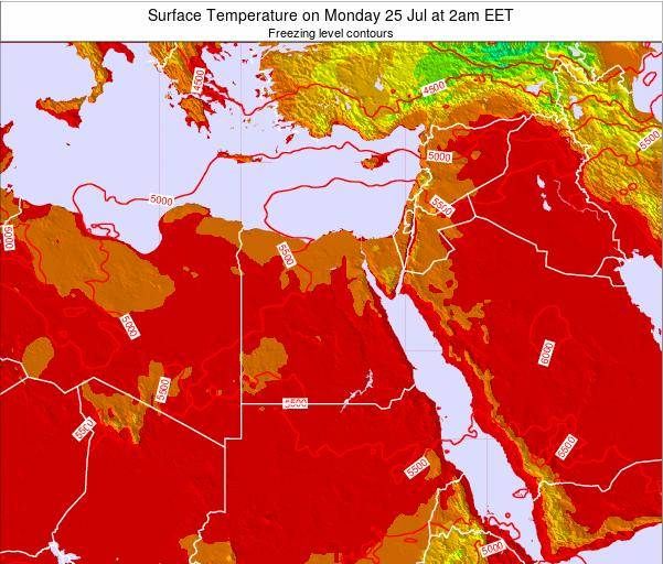 Egypt Surface Temperature on Friday 01 Aug at 2am EET map